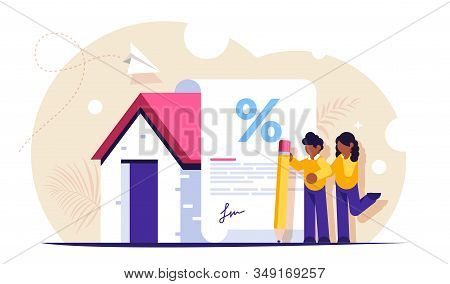 Mortgage Loan Form Concept. Young Family Signs A Mortgage Document To Buy A New Home. Favorable Inte