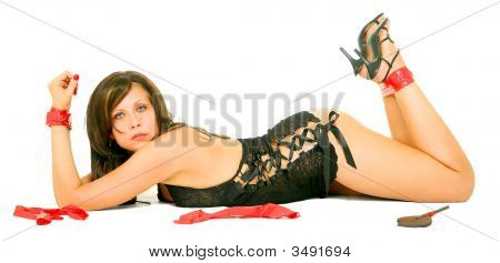 Dominatrix Girl Laying Down