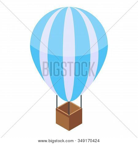 Hot Air Ballon Icon. Isometric Of Hot Air Ballon Vector Icon For Web Design Isolated On White Backgr