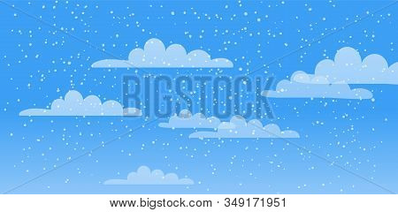 Spring Sky, Clouds, Precipitation, Rain, Snow, Hail. Vector Illustration Natural Background With Pla