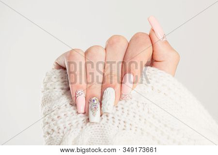 Nail Polish. Art Manicure. Modern Style Blue Nail Polish.stylish Pastel Color Pink White Nails Holdi