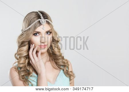 Beauty Queen Bride Woman With Bright Pink With Tikka Indian Jewelry On Head Looking At You Camera Ha