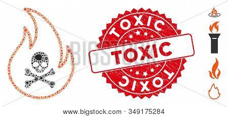 Fever Mosaic Toxic Fire Icon And Round Grunge Stamp Seal With Toxic Caption. Mosaic Vector Is Design