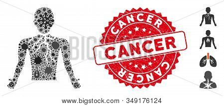 Biohazard Mosaic Chest Cancer Icon And Round Grunge Stamp Seal With Cancer Phrase. Mosaic Vector Is