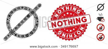 Viral Mosaic Nothing Icon And Round Corroded Stamp Seal With Nothing Phrase. Mosaic Vector Is Create