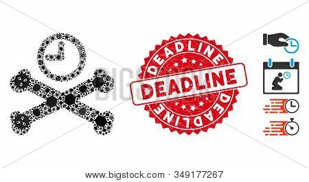 Pathogen Mosaic Deadline Timer Icon And Round Rubber Stamp Seal With Deadline Caption. Mosaic Vector