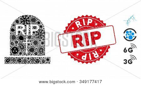 Infection Mosaic Rip Icon And Round Corroded Stamp Seal With Rip Phrase. Mosaic Vector Is Formed Wit