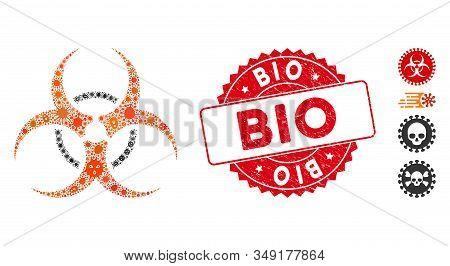 Biohazard Mosaic Bio Hazard Icon And Round Distressed Stamp Seal With Bio Caption. Mosaic Vector Is