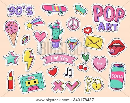 Fashion Pop Art Patch Stickers. Girls Cartoon Cute Badges, Doodle Teenage Patches With Lipstick, Cut