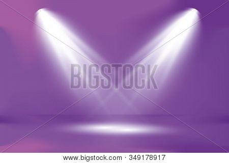 Dark Spotlight Catwalk Purple Blue Dance Floor Club Neon Lasers Fog Empty Garage Cyber Spaceship Und