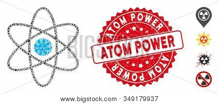 Virus Mosaic Atom Icon And Rounded Corroded Stamp Seal With Atom Power Text. Mosaic Vector Is Design