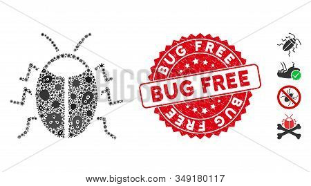 Epidemic Mosaic Bug Icon And Rounded Rubber Stamp Seal With Bug Free Text. Mosaic Vector Is Formed W