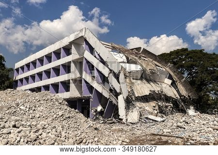 Debris And Destroyed Building That Collapsed From The Earthquake.