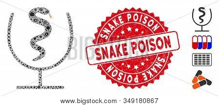 Biohazard Collage Snake Poison Icon And Rounded Rubber Stamp Seal With Snake Poison Phrase. Mosaic V