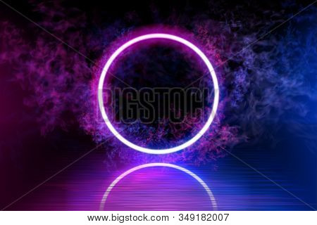 Neon Color Geometric Circle On A Dark Background. Round Mystical Portal, Luminous Line, Neon Sign. R
