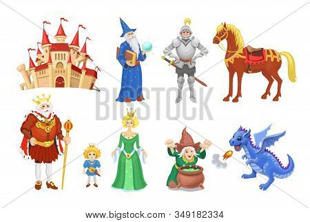 Fantasy Fairy Tale Clipart. Cartoon Characters Princess, Knight, Dragon, Wizard And King With Castle