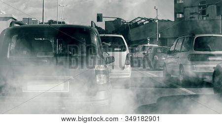 Smog In City Traffic, Car Smoke Pollution