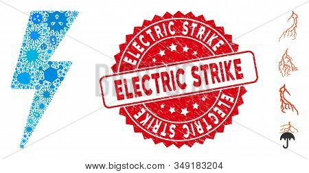 Contagious Mosaic Electric Strike Icon And Rounded Grunge Stamp Seal With Electric Strike Caption. M