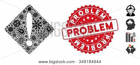 Viral Mosaic Problem Icon And Round Grunge Stamp Seal With Problem Text. Mosaic Vector Is Formed Wit