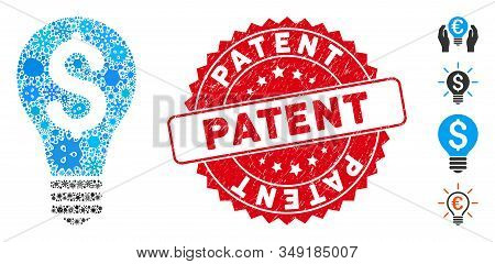 Infected Mosaic Patent Icon And Round Grunge Stamp Seal With Patent Phrase. Mosaic Vector Is Created