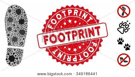 Epidemic Mosaic Boot Footprint Icon And Rounded Distressed Stamp Seal With Footprint Phrase. Mosaic