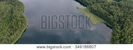 Topview On Natural Panorama Beautiful Lake With Wild Nature Outdoor. Green Forest, Shore And Water W