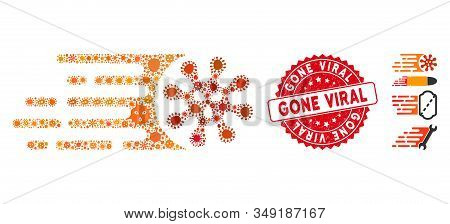 Outbreak Mosaic Gone Viral Icon And Rounded Grunge Stamp Seal With Gone Viral Caption. Mosaic Vector