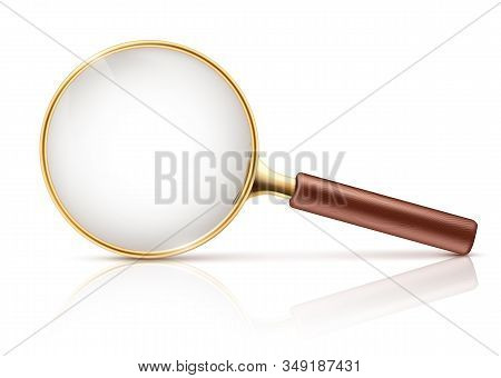 3d Realistic Magnifying Glass In Golden Rim, Brown Wooden Handle. Science Tool With Lens Isolated On