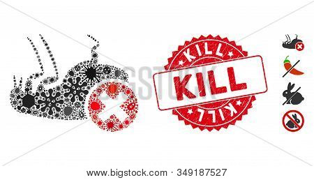 Infectious Collage Kill Flea Icon And Round Rubber Stamp Seal With Kill Text. Mosaic Vector Is Forme
