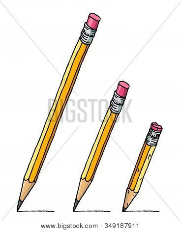 Using Graphite Pencils With Eraser Set. Stationery Hand Drawn Vector Doodle Drawing. Illustration Is