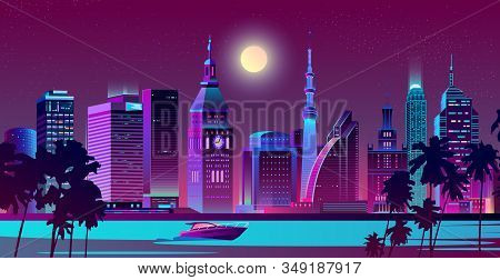 Modern Metropolis, Resort City In Tropical Country Night Landscape Cartoon In Neon Colors. Skyscrape