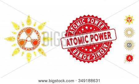 Pathogen Mosaic Atomic Radiation Icon And Round Rubber Stamp Watermark With Atomic Power Text. Mosai