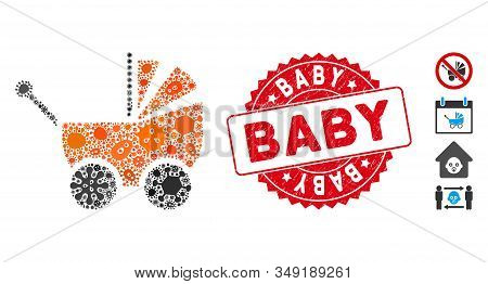 Infection Mosaic Baby Carriage Icon And Round Rubber Stamp Watermark With Baby Text. Mosaic Vector I