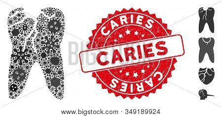 Biohazard Collage Caries Icon And Round Rubber Stamp Seal With Caries Text. Mosaic Vector Is Formed