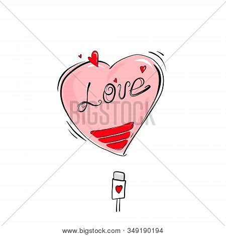 Depleted Heart That Requires Recharging, The Concept Of A Departed Love Or A Sick Heart.