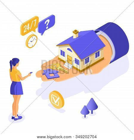 Sale, Purchase, Rent, Mortgage House Isometric Concept For Poster, Landing, Advertising With Home On