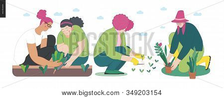 Gardening People Set, Spring -modern Flat Vector Concept Illustration Of Diverse People -men And Wom