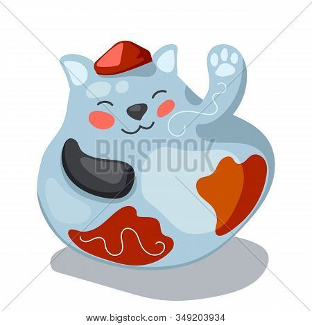 Maneki Neko Or Lucky Cat Figurine. Traditional Asian Maskot For Lunar New Year. Happy Cat Vector Ill