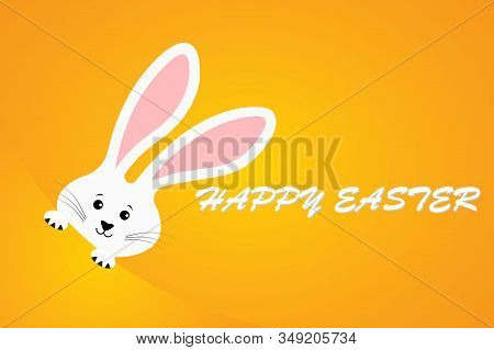 Easter Rabbit. Text Happy Easter. Easter Bunny. Cute Rabbit Cartoon Character.