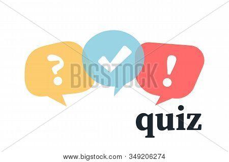 Quiz Logo With Speech Bubble Symbols. Flat Bubble Speech Symbols . Concept Of Social Communication,