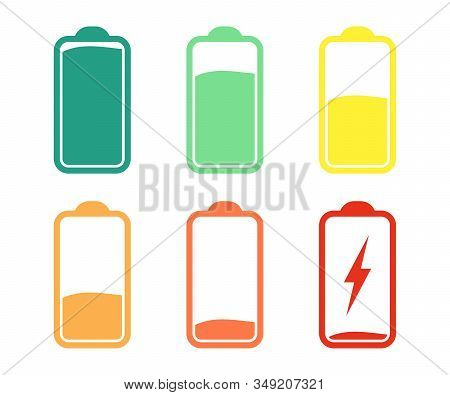 Battery Indicator Icons, Discharged And Fully Charged Battery. Set Of Battery Charge Level Indicator