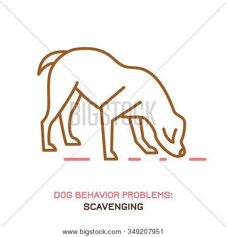 Dog Behavior Problem Icon. Domestic Animal Or Pet Language. Scavenging Labrador. Eating Everything.
