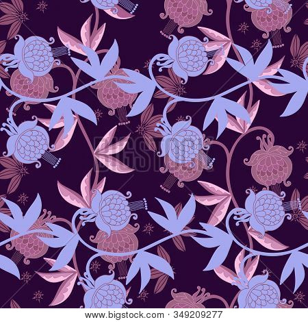 Floral Seamless Pattern With Beautiful Flowers In Lavender And Lilac Colors. Delicate Print For Fabr