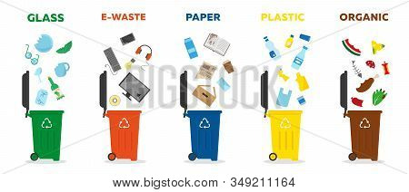 Different Types Of Waste - Glass, Paper, E-waste, Plastic And Organic. Colored Rubbish Bins For Wast
