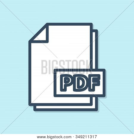 Blue Line Pdf File Document. Download Pdf Button Icon Isolated On Blue Background. Pdf File Symbol.