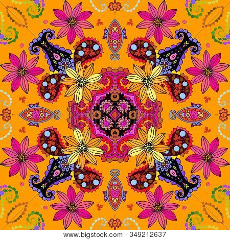 Beautiful Seamless Pattern With Pink And Yellow Flowers And Colorful Paisley. Summer Print. Bandana,