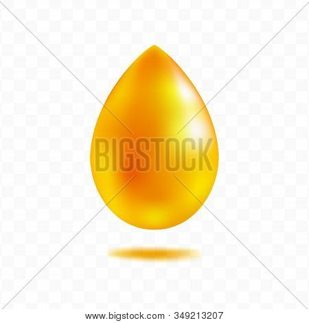 Honey Drop Isolated On Transparent Background, Cosmetic Anti Age Collagen  Oil Or Caramel Droplet. J