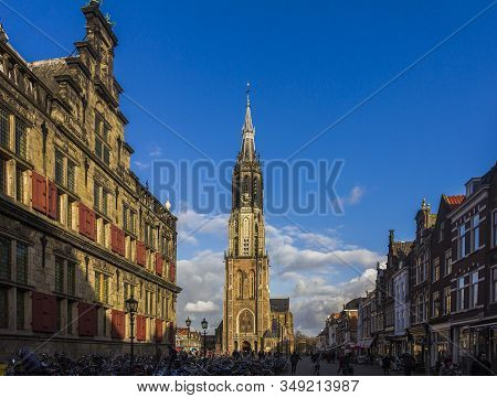 Delft, The Netherlands, Holland,,january 18, 2020. Stadhuis (the City Hall) (renaissance Style) Oppo