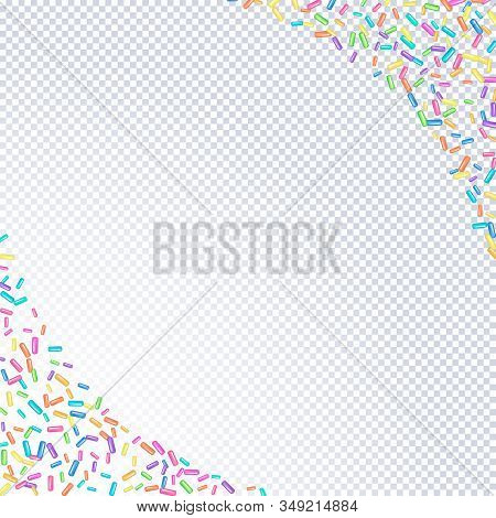 Sprinkle With Grains Of Desserts. Abstract Pattern With Sprinkles Grainy On A Transparent Background