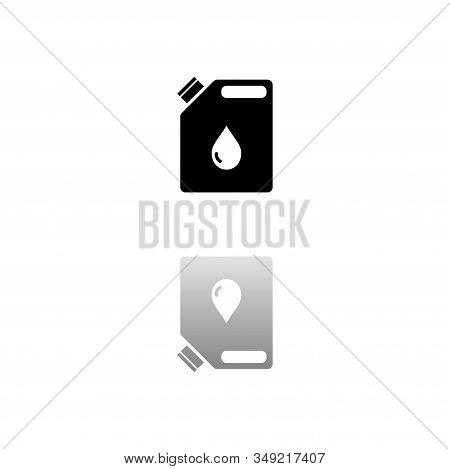 Jerrycan Oil. Black Symbol On White Background. Simple Illustration. Flat Vector Icon. Mirror Reflec